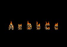 Letters A, B, C. Of alphabet in fire Royalty Free Stock Images