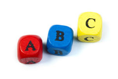 Letters a b c on cubes Stock Image