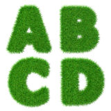 Letters A B C D isolated on white, ecology concept, 3d illustration Stock Photos