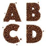 Letters A B C D isolated on white, made of chocolate bubbles, milk chocolate concept,, 3d illustration Royalty Free Stock Image