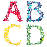 Letters A, B, C, D, made out of buttons Stock Photos