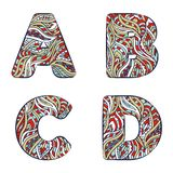 Letters A, B, C, D. Set colorful alphabet of doodles patterns. Royalty Free Stock Photos