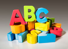 Letters A B C made of wood. Royalty Free Stock Photo