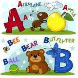 The letters a and b. English alphabet with letters a and b and pictures to them vector illustration