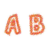 The letters A, B made of autumn leaves Stock Photos