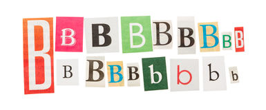 Letters B from newspapers Stock Photography