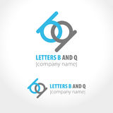 Letters B and Q. Abstract company logo design. Vector illustration Stock Photos