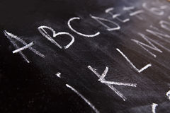 Letters on a blackboard Stock Image