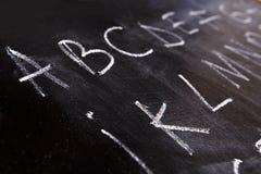 Letters on a blackboard stock image