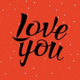 Letters calligraphy, love you, hand drawing. Letters hand drawing on polka dot pattern, for love themes. Word love, you. Color black, red, white. Happy in love Stock Photos
