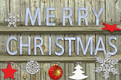 Letters christmas on wood  background Stock Photo