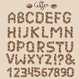 Letters from coffee grains Stock Images