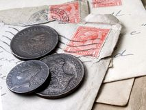 Letters and Coins. Old letters and coins Stock Images