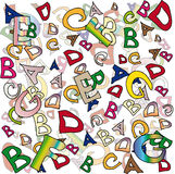 Letters. Collage and multicolored letters of the English alphabet Stock Photos