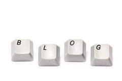 Letters collected from computer keypad buttons blog isolated Stock Photography
