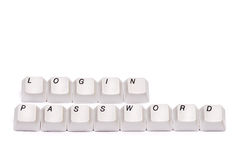Letters collected from computer keypad buttons login password isolated Stock Images