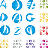 Letters collection. Logos collection, alphabet characters Royalty Free Stock Images