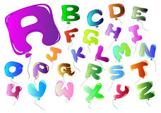 Letters colorful balloon-shaped. Letters with the colors of the rainbow-shaped balloon Stock Images