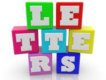 Letters concept on toy cubes in different colors. In background royalty free illustration