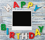 Letters of cookies and happy birthday Royalty Free Stock Photography