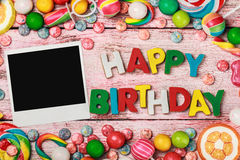 Letters of cookies and happy birthday Stock Images