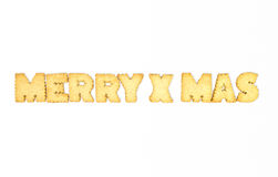 Letters Cookies. Merry x mas  typography concept made from Cookies Royalty Free Stock Images