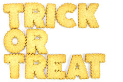 Letters Cookies. Trick or treat  typography concept made from Cookies Stock Photos