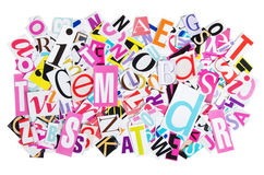 Letters cut out from newspapers Royalty Free Stock Photography