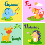 4 letters. Cute zoo alphabet in vector. E, f, g h letters. Funny animals for ABC book Vector Illustration