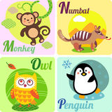4 letters. Cute zoo alphabet in vector. M, N, O, Pl letters. Funny animals for ABC book Royalty Free Stock Image