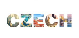 Letters CZECH isolated on white background - Famous Czech landmarks stock image