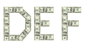 Letters D, E, F made of dollars Stock Photography