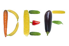 Letters DEF  from fruits and vegetables Stock Photos