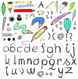 letters and doodle pens Royalty Free Stock Images