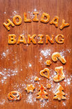 Letters of dough and Christmas cookies on the table Stock Photography