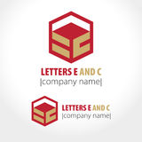Letters E and C, cube and line. Royalty Free Stock Photos