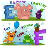 The letters e and f. English alphabet with letters e and f and pictures to them stock illustration