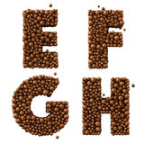 Letters E F G H  isolated on white, made of chocolate bubbles, milk chocolate concept,, 3d illustration Stock Photos