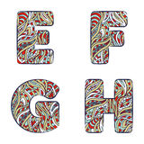 Letters E, F, G, H. Set colorful alphabet of doodles patterns. Royalty Free Stock Photo