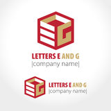 The letters e and g cubed. Vector illustration Stock Images