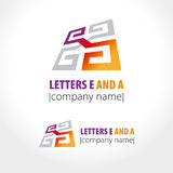 Letters E and A, pattern and labyrinth, line. Vector illustration Stock Photography
