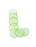 Letters en getallen alfabet van komkommers Stock Afbeeldingen