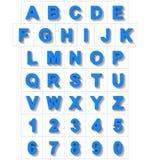 Letters en getallen 3D blauw op wit met schaduw wordt geïsoleerd die - orth Royalty-vrije Illustratie