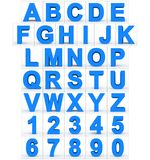 Letters en getallen 3d blauw op wit wordt geïsoleerd dat Vector Illustratie