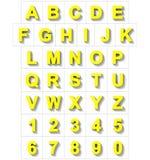 Letters en getallen 3D geel geïsoleerd op wit met schaduw - of Royalty-vrije Illustratie