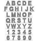 Letters en getallen 3d grijs geïsoleerd op wit Royalty-vrije Illustratie