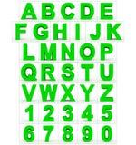 Letters en getallen 3d groen geïsoleerd op wit Royalty-vrije Illustratie