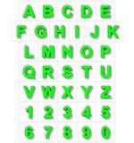 Letters en getallen 3D groen geïsoleerd op wit met schaduw - ort Stock Illustratie