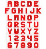 Letters en getallen 3d kubiek die rood op wit wordt geïsoleerd Vector Illustratie
