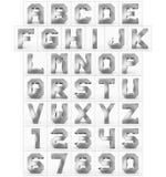 Letters en getallen 3d kubiek die zilver op wit wordt geïsoleerd Royalty-vrije Stock Foto's